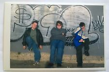 Vintage PHOTO 3 Boys Taking A Picture With Graffiti Backdrop