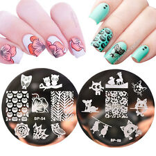 2pcs/set Born Pretty Cat Owl Design Nail Art Stamping Template Image Plates DIY