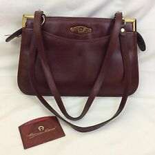 Vintage Etienne Aigner Burgundy Leather Handbag Clean VGUC