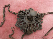 ANTIQUE OIL LAMP RISE & FALL CHAIN & CAST IRON CEILING PLATE/LANTERN/OIL BURNER