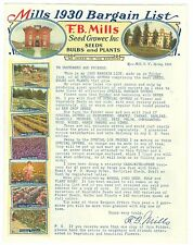 Spring 1930 F.T. Mills Seed Growers, Seeds, Bulbs & Plants, Rose Hill, NY Cat.