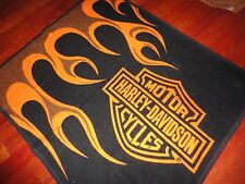 HARLEY DAVIDSON ACRYLIC FLAME BLACK ORANGE THROW BLANKET  50 X 60