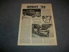 "1938 Chevy Coupe Vintage Street Rod Article ""Great '38"" ---From 1984"""