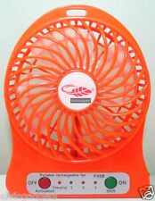 Portable Mini Rechargeable LED Light Fan With Battery & USB Cable(Orange)