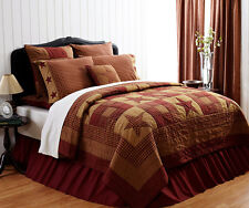 NINEPATCH STAR 3pc Full Queen QUILT SET : RED BROWN RUSTIC PRIMITIVE COMFORTER