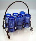 Mexican tequila SHOT Glasses, blue spiral hand blown with metal display rack