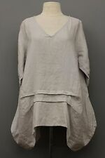 CHEYENNE ARTSY LINEN 3/4 SLEEVE V PULLOVER PLEATED BALLOON SHIRT SILVER S / M