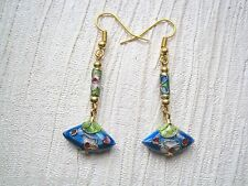 ORIENTAL FAN BLUE Floral GOLD CLOISONNE BEAD GP Charm Long Drop Earrings GIFT