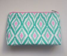 Clinique Brand New Makeup Cosmetic Bag in Pink Green & White