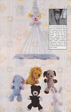 Crochet Pattern ~ Baby CIRCUS MOBILE Dog, Bunny, Lion, Bear ~ Instructions