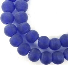 50 Frosted Sea Glass Round / Rocaille Beads Matte - Cobalt Blue 6x5mm