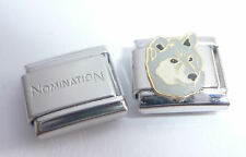 GREY WOLF 9mm Italian Charm + 1x Genuine Nomination Classic Bracelet Link DOG
