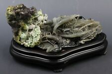 large 100% Natural Dushan jade hand-carved fish, shrimp, flowers, statue