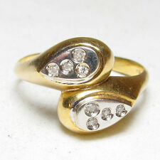 Estate $1800 18K Yellow And White Gold Eight Single Cut Diamond Ring 0.08 Cts