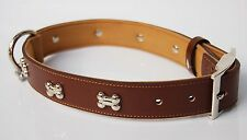 CJ Dog Collars- Luxury Real Leather Padded Bone Charm Dog Collar. Small Brown
