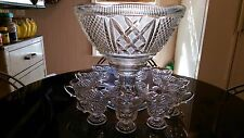 Gorgeous Huge Antique  Punch Bowl on Matching Rasied Base Set