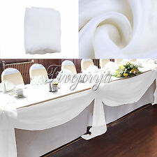 White 5M x 1.4M Table Swags Soft Organza Fabric Wedding Party Xmas Shower Stair
