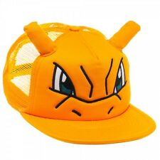 NINTENDO POKEMON CHARIZARD BIG FACE MESH TRUCKER SNAPBACK HAT CAP ORANGE HORNS