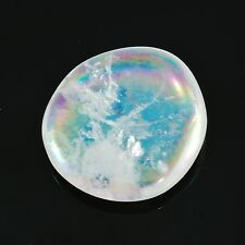 OPAL ANGEL AURA QUARTZ Flat Polished Palm Rainbow Stone w/ Healing Property Card
