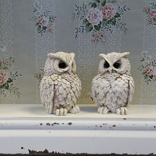 Pair of Small Cream Owl Ornaments Vintage Shabby Chic Style Gift Home