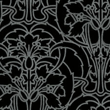 Arts and Crafts Style Silver on Black Wallpaper DOUBLE ROLL FREE SHIPPING