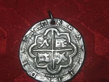 LARGE GOTHIC SILVER TONE PIRATE PIECES OF EIGHT CROSS COIN PENDANT NECKLACE