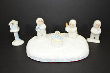 Ceramic Snow Babies Type Hand Painted Collection of Figures Tree & Base