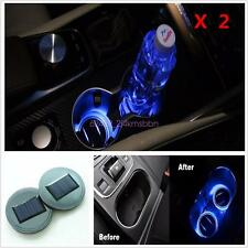 2pcs Solar Cup Holder Bottom Pad Mat Blue LED Light Trim For All Cars All models