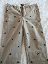 Men's Ralph Lauren Rugby Khaki Pants Skull Embroidered Extremely Rare