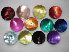 12 Giant, 35mm Round Mother of Pearl Shell Buttons in Assorted Colours (B11)