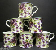 Set Of 6 Pansy White Chintz English Fine Bone China Mugs Cups By Milton China