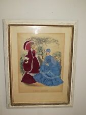 ANTIQUE LA MODE ILLUSTREE RIBBON LADY SHADOW BOX FRAMED ART PRINT