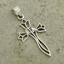 CUTE .925 STERLING SILVER FILIGREE ROSE CROSS PENDANT  style# p0820