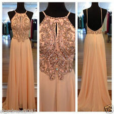Stock US12 Chiffon Long Formal Bridesmaid Dress Wedding Evening Party Prom Gown+