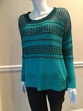 NWT ELIZABETH AND JAMES SzS OPEN KNIT LINEN/COTTON BLEND SWEATER GREEN COM$265