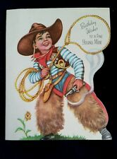 "Vintage COWBOY Themed ""Birthday Wishes to a fine Young Man"" Birthday Card"