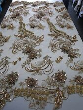 """Bronze Mesh w/ Embroidery Beaded Lace & Sequins Fabric - 52"""" - Sold by the Yard"""