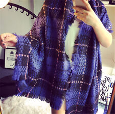 Ladys Blanket Oversized Tartan Scarf Wrap Shawl Plaid Winter Pashmina purple DH*
