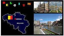 BELGIUM MAP & FLAG - SOUVENIR NOVELTY FRIDGE MAGNET - BRAND NEW - GIFT