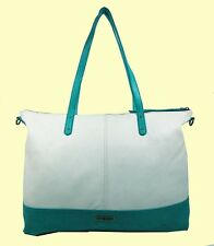 LUCKY BRAND Setauket Vanilla/Turquoise Leather Travel Tote Bag Msrp$198.00