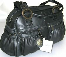 NEW DESIGNER LORENZ LARGE LADIES REAL LEATHER WEEKEND SHOULDER HAND BAG BLACK