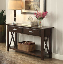 NEW HENDERSON CAPPUCCINO FINISH WOOD ENTRYWAY SOFA CONSOLE TABLE w/ DRAWERS
