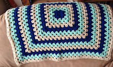 Handmade Crochet  Baby Blanket/Throw - New - Dark Blue - Green - Beige
