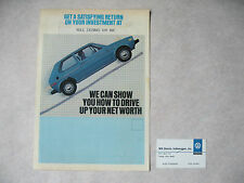 1981 Volkswagen / VW Brochure - Return on Investment - Scirocco Pickup Vanagon