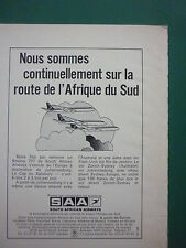 10/1972 PUB SAA SOUTH AFRICAN AIRWAYS AFRICA BOEING 707 AIRLINER FRENCH AD