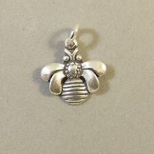 .925 Sterling Silver BEE CHARM Pendant Garden Insect Honey Bumble NEW 925 GA91