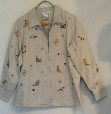 Quaker Factory Jacket Tan Cotton Embroidered Cats Kitties Large