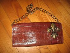 Fleur de lis Leatherock Handbag...Clutch or Chain Carry