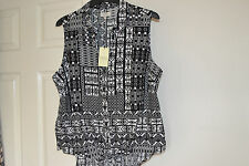 PAPAYA BLACK/WHITE TIE FRONT BLOUSE SIZE 18 BRAND NEW WITH LABELS
