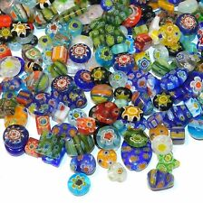 "G3484 Millefiori Assorted Color Mixed Shape 4-14mm ""Flower"" Glass Beads 1oz"